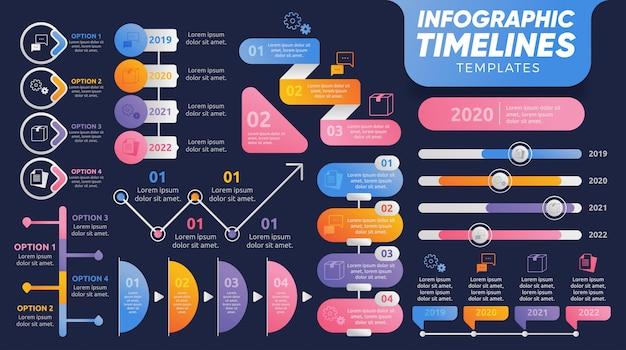 Modelli di infografica timeline per la presentazione