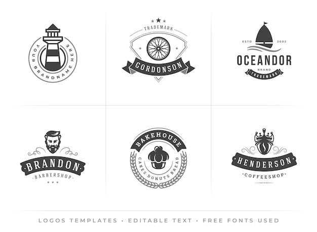 Modelli di loghi vintage moderni con caratteri modificabili nel design tipografico hipster retrò