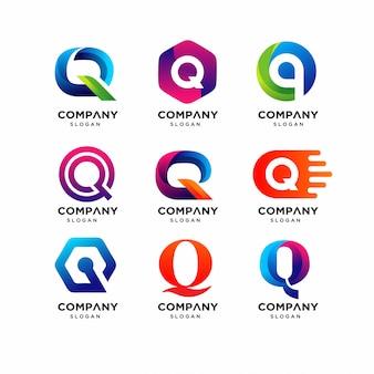 Modelli di logo di lettera q moderna