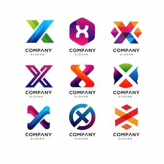 Modelli di logo di lettera x moderna