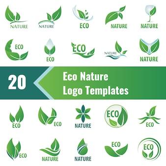 Modelli di logo eco nature