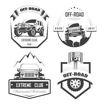 Modelli di logo off-road 4x4 extreme car club. simboli vettoriali