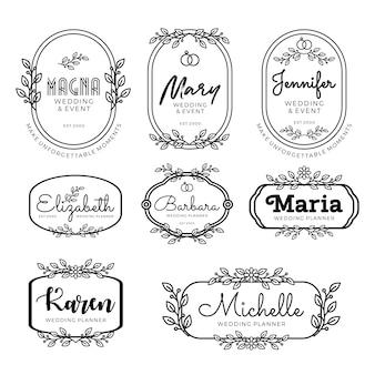 Modelli di logo planner di nozze in stile femminile