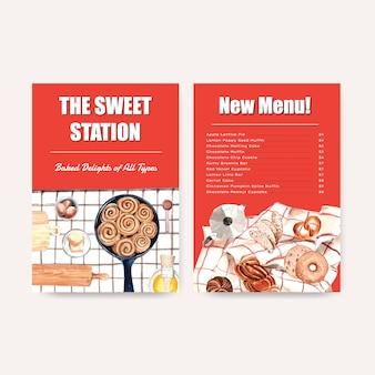 Modelli di menu di panetteria