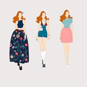 Modelli di moda disegnati a mano.