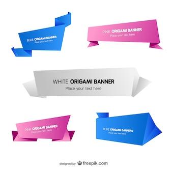 Modelli di origami banner set