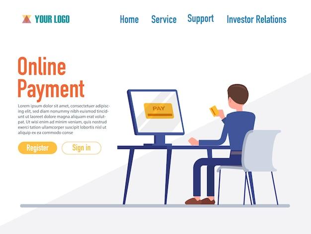 Modelli di pagina web design piatto di pagamento online
