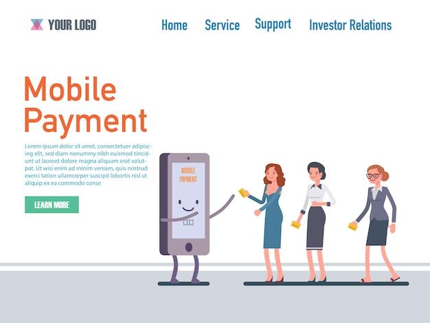 Modelli di pagina web di design piatto di pagamento mobile