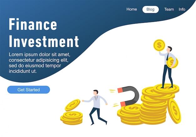 Modelli di pagine web di design piatto di finanza