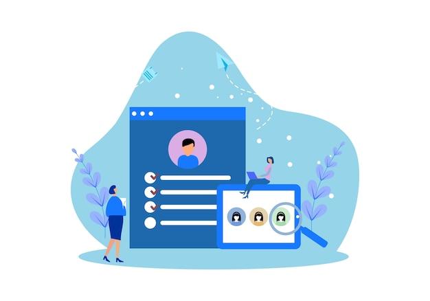 Modelli di pagine web di design piatto per lavori di reclutamento online