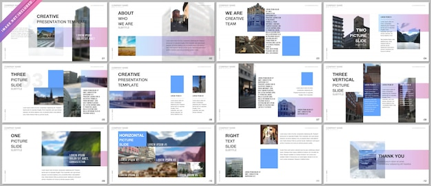Modelli di portfolio di presentazioni con sfumature colorate