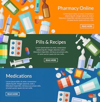 Modelli di poster banner orizzontale di farmacia o farmaci di cartone animato