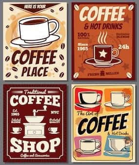 Modelli di poster retrò caffè e ristorante con macchia di caffè.