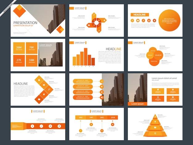 Modelli di presentazione astratta arancione infografica