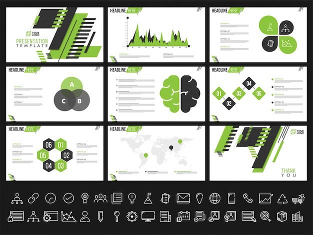 Modelli di presentazione creativi per i rapporti e le presentazioni di business. può essere utilizzato come opuscolo, opuscolo, copertina.