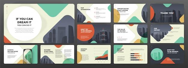 Modelli di presentazione moderni per affari e costruzioni