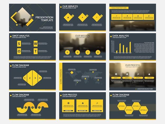 Modelli di presentazione quadrati gialli infografica