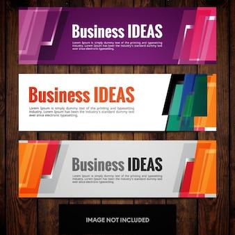 Modelli di progettazione banner aziendali con rettangoli multicolori
