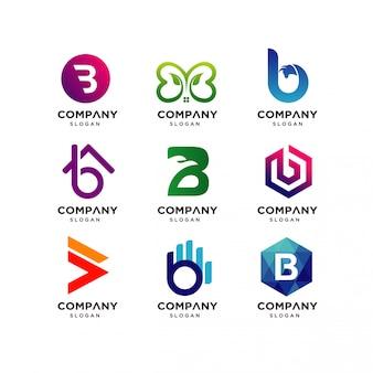 Modelli di progettazione del logo di lettera b.