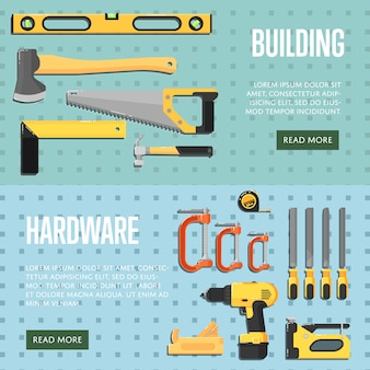 Modelli di siti web di strumenti di costruzione per il negozio