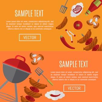 Modelli di siti web orizzontali per barbecue
