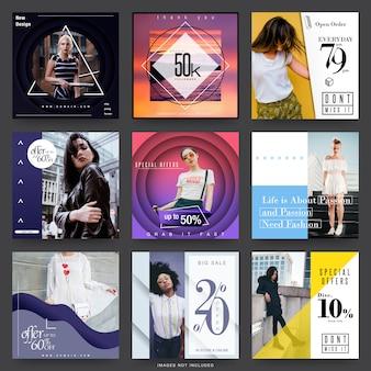 Modelli di social media per la vendita di moda moderna
