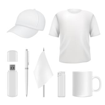 Modelli di souvenir. regali di branding promozionali elementi vuoti. identità aziendale vuota su bianco