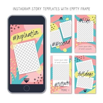 Modelli di storie di instagram con cornice vuota