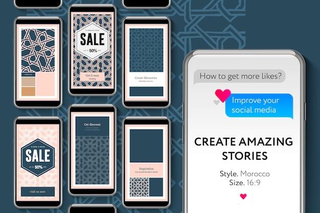 Modelli di storie di social media per marchi e blogger, banner web di promozione moderna per app mobili di social media.