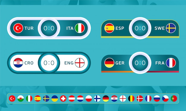 Modelli di tabelloni segnapunti di football sport per il campionato di calcio
