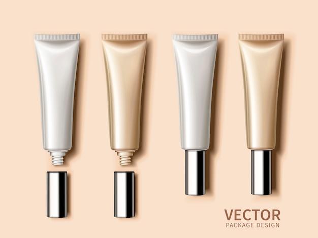 Modelli di tubi cosmetici vuoti per usi, sfondo cremoso, illustrazione