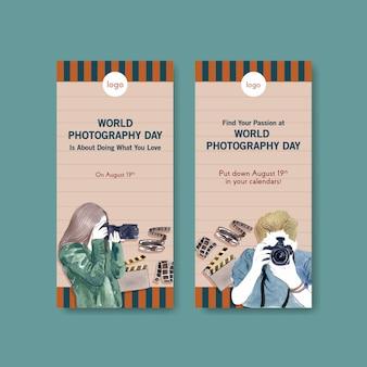 Modelli di volantini per la giornata mondiale della fotografia