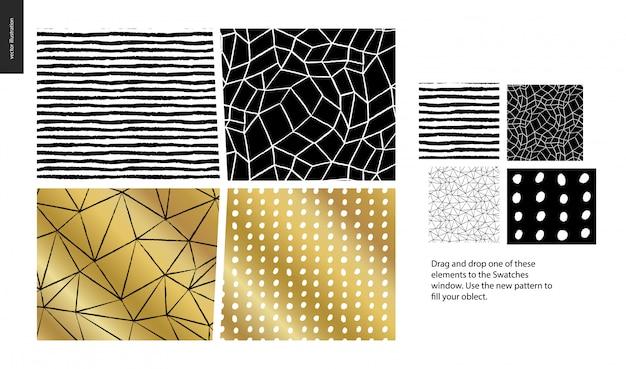 Modelli disegnati a mano - un gruppo di quattro modelli astratti senza soluzione di continuità - nero, oro e bianco. linee geometriche, punti e forme - pezzi