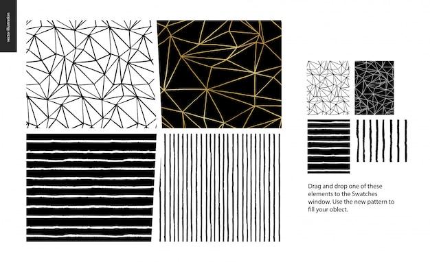 Modelli disegnati a mano - un insieme del gruppo di quattro modelli senza cuciture astratti - in bianco e nero. linee geometriche, punti e forme - pezzi
