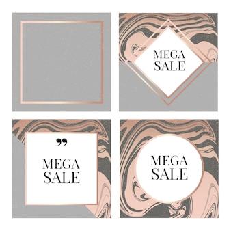 Modelli frame e banner square fluid tema moda