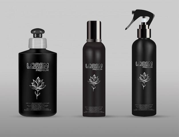 Modelli in bianco di contenitori con spray, flacone per bagnoschiuma, lozione, shampoo con dosatore a pompa, vasetto, tubo.