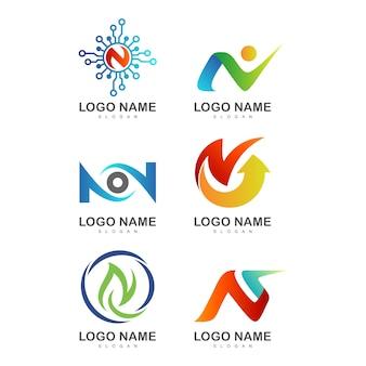 Modelli iniziali creativi della lettera n logo