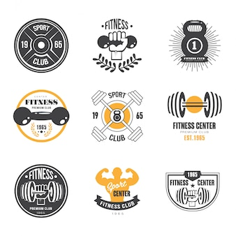 Modelli logo sport e fitness, loghi palestra, etichette atletiche