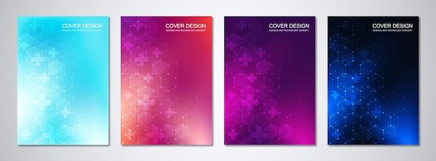 Modelli medici per copertina con motivo esagoni astratti. concetti e idee per medicina, tecnologia sanitaria, medicina dell'innovazione, scienza.