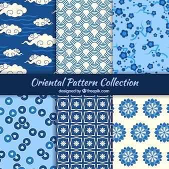 Modelli orientali in colore blu
