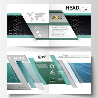 Modelli per brochure design quadrato bi fold, rivista, flyer.