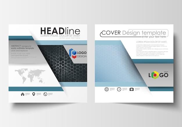 Modelli per brochure design quadrato, rivista, flyer, relazione. copertina del volantino, facile layout vettoriale modificabile.