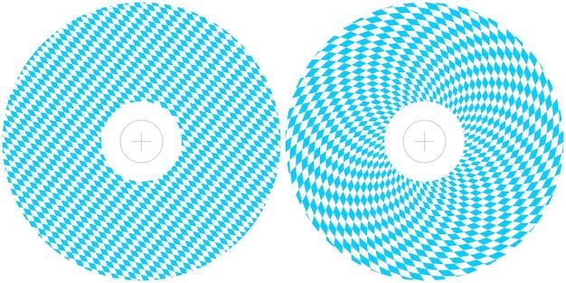 Modelli per la progettazione dell'oktoberfest. layout di stampa rotondi della bandiera bavarese blu e bianca per copertine di cd e dvd.
