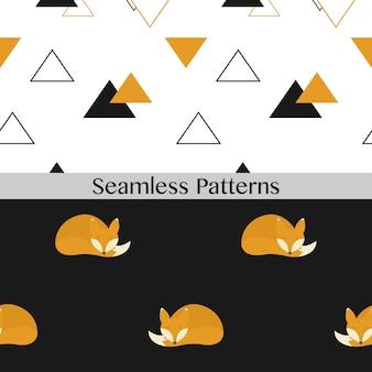 Modelli senza cuciture con volpi simpatiche. illustrazione vettoriale