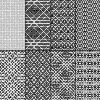 Modelli senza cuciture di stoffa. texture di tessuto netto vettoriale. collezione di maglie in pizzo. mesh seamless background set