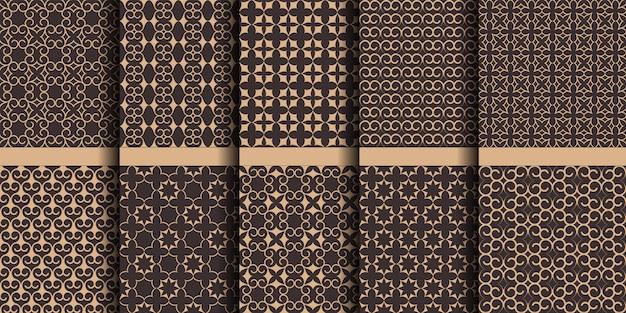 Modelli senza cuciture islamici di lusso, ornamenti decorativi arabi con stelle e volute