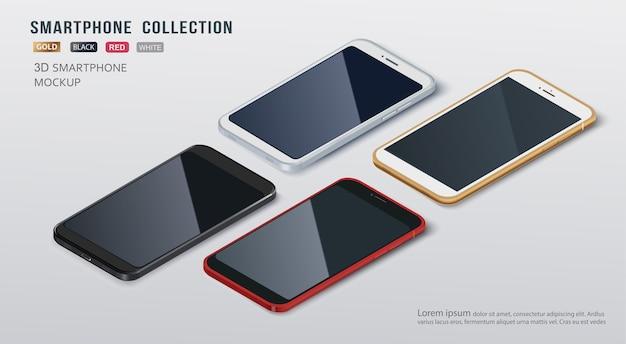 Modelli senza cuciture sottile collezione smartphone con isolato su sfondo bianco.
