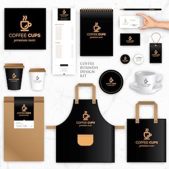 Modelli vettoriali di identità di marca per il marchio del caffè