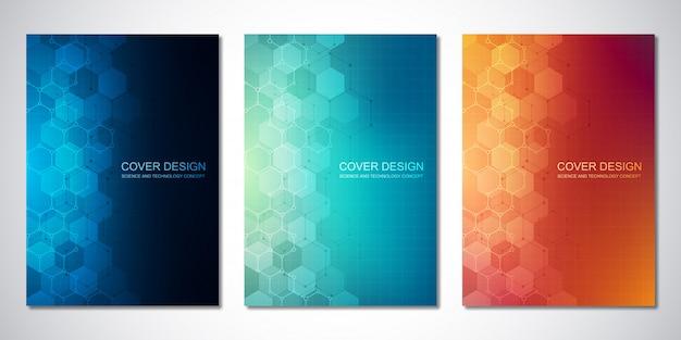Modelli vettoriali per copertina o brochure, con motivo a esagoni. background hi-tech di strutture molecolari e ingegneria chimica. concetto di scienza e tecnologia.