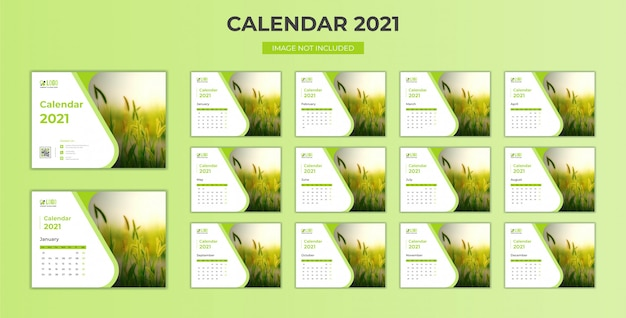 Modello 2021 di calendario da scrivania minimo e fisso